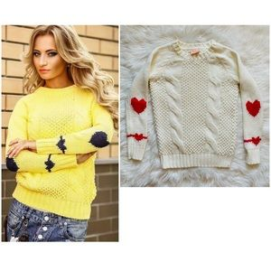 PULLIT Crew Neck Heart Elbow Cable Knit Sweater